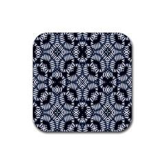 Futuristic Geometric Print  Rubber Square Coaster (4 Pack)