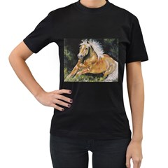 Mustang Women s T-Shirt (Black) (Two Sided)