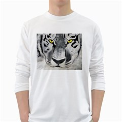 The Eye Of The Tiger White Long Sleeve T Shirts