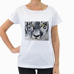 The Eye Of The Tiger Women s Loose-Fit T-Shirt (White)