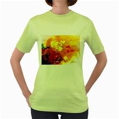 Fire, Lava Rock Women s Green T Shirt