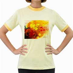 Fire, Lava Rock Women s Fitted Ringer T-Shirts