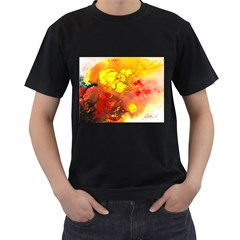 Fire, Lava Rock Men s T-Shirt (Black) (Two Sided)