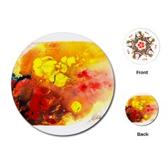 Fire, Lava Rock Playing Cards (Round)