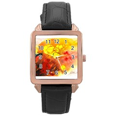 Fire, Lava Rock Rose Gold Watches