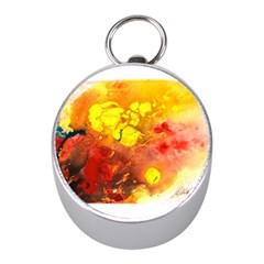 Fire, Lava Rock Mini Silver Compasses
