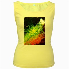 Abstract Landscape Women s Yellow Tank Tops