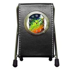 Abstract Landscape Pen Holder Desk Clocks