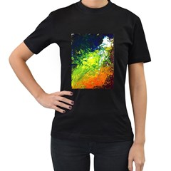 Abstract Landscape Women s T Shirt (black) (two Sided)