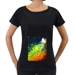 Abstract Landscape Women s Loose-Fit T-Shirt (Black)