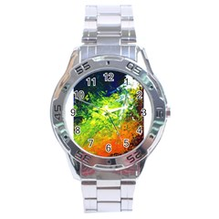 Abstract Landscape Stainless Steel Men s Watch