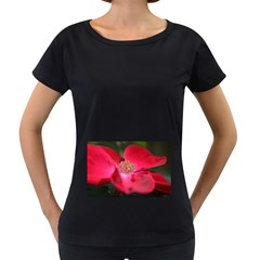Bright Red Rose Women s Loose-Fit T-Shirt (Black)