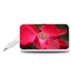 Bright Red Rose Portable Speaker (White)