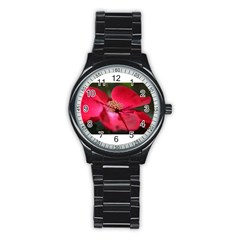 Bright Red Rose Stainless Steel Round Watches