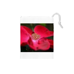 Bright Red Rose Drawstring Pouches (Small)