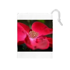 Bright Red Rose Drawstring Pouches (medium)