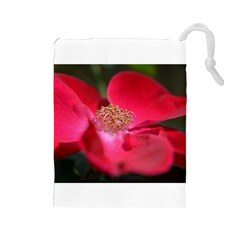 Bright Red Rose Drawstring Pouches (large)