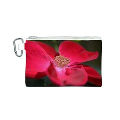 Bright Red Rose Canvas Cosmetic Bag (S)