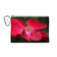 Bright Red Rose Canvas Cosmetic Bag (M)