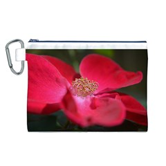 Bright Red Rose Canvas Cosmetic Bag (L)