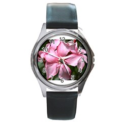 Pink Oleander Round Metal Watches
