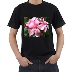 Pink Oleander Men s T-Shirt (Black) (Two Sided)