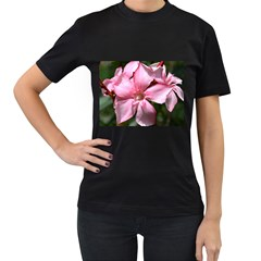 Pink Oleander Women s T-Shirt (Black) (Two Sided)