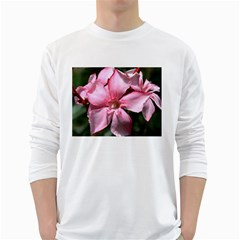 Pink Oleander White Long Sleeve T-Shirts