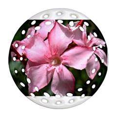 Pink Oleander Round Filigree Ornament (2Side)