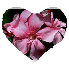 Pink Oleander Large 19  Premium Flano Heart Shape Cushions