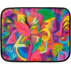 Colorful Floral Abstract Painting Fleece Blanket (Mini)
