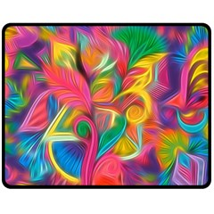 Colorful Floral Abstract Painting Fleece Blanket (medium)