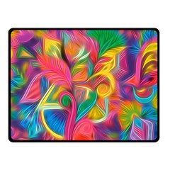 Colorful Floral Abstract Painting Double Sided Fleece Blanket (Small)
