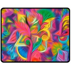 Colorful Floral Abstract Painting Double Sided Fleece Blanket (Medium)