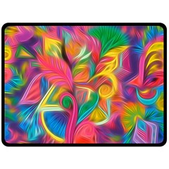 Colorful Floral Abstract Painting Double Sided Fleece Blanket (Large)