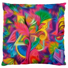 Colorful Floral Abstract Painting Standard Flano Cushion Case (One Side)