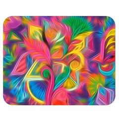 Colorful Floral Abstract Painting Double Sided Flano Blanket (Medium)