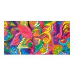 Colorful Floral Abstract Painting Satin Wrap
