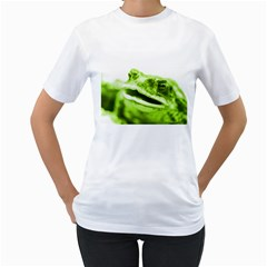 Green Frog Women s T-Shirt (White) (Two Sided)