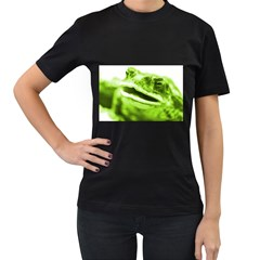 Green Frog Women s T Shirt (black) (two Sided)