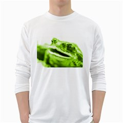 Green Frog White Long Sleeve T-Shirts
