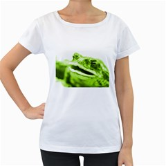 Green Frog Women s Loose-Fit T-Shirt (White)