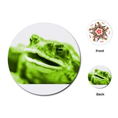 Green Frog Playing Cards (Round)