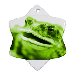 Green Frog Snowflake Ornament (2 Side)