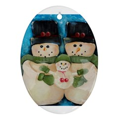 Snowman Family Ornament (oval)