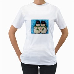 Snowman Family Women s T-Shirt (White) (Two Sided)