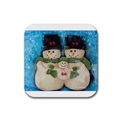 Snowman Family Rubber Coaster (square)
