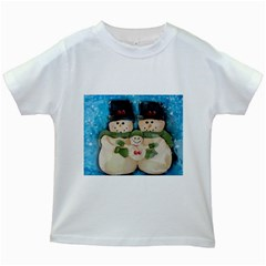 Snowman Family Kids White T-Shirts