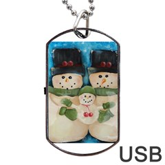 Snowman Family Dog Tag USB Flash (One Side)