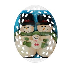 Snowman Family Ornament (Oval Filigree)